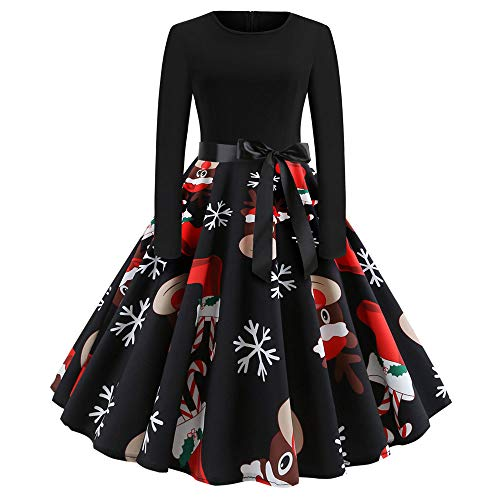 Weihnachten Kleider Damen UFODB Frauen Weihnachtskleid Kleid Swing Taille Slim Cocktailkleid Retro Schwingen Party Partykleid Festlich Christmas Dress