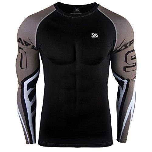 Zipravs Rashguard Langarm MMA BJJ UFC Kampfsport Compression T Shirt Herren
