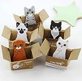Haodou 5 stück Haftnotizen 3D Katze Box Aufkleber Nette Karikatur