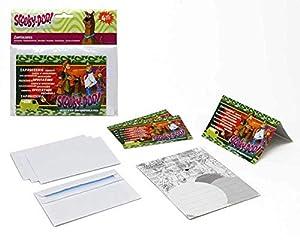 Atosa-Atosa-17117-pack 4 Invitaciones Scooby doo 15x10 cms, Color Verde (17117)