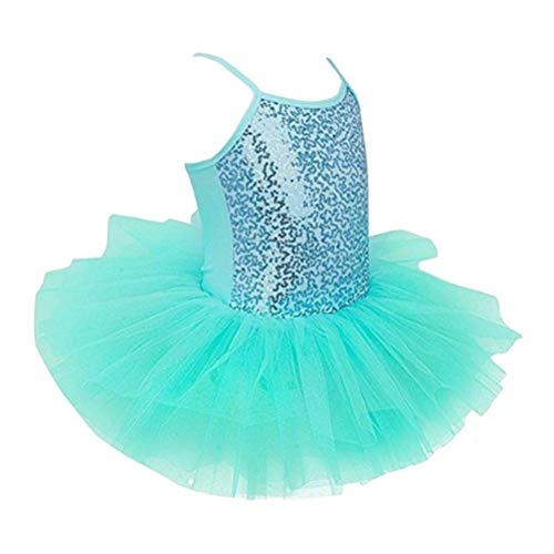 LIOOBO Girls Tutu Dress Sequined Camisole Ballet Dance Leotard Skirt Size L (Green) -