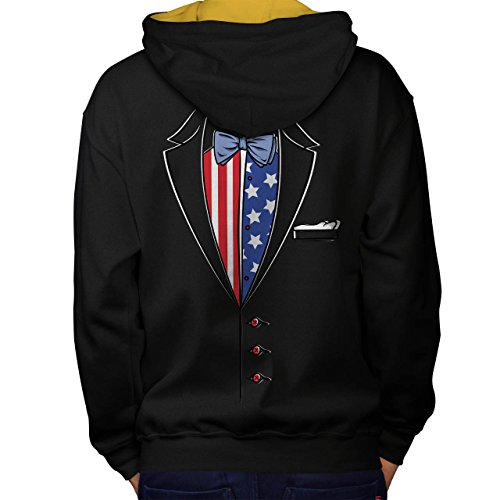 Usa Flagge Anzug Mode Men S Kontrast Kapuzenpullover Zurück | Wellcoda