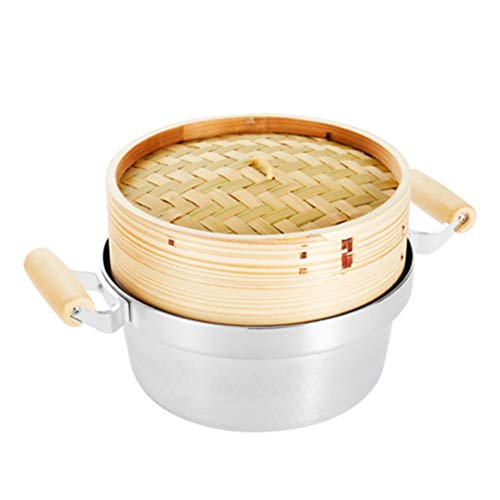Lunuolao Premium-Bio-Bambus-Dampfgarer, leicht und langlebig, handgefertigt, geeignet für Dampfgemüse, Reis, Knödel