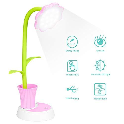 Schreibtischlampe für Kinder, LED Schreibtischlampe Dimmbare Nachttischlampe mit Touchsensor, Augenfreundlich Leselampe mit Stifthalter, USB Wiederaufladbare Tischlampe für Kinder (Rosa)