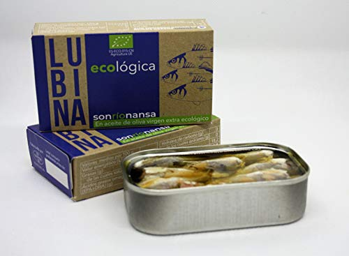 Conserva Ecológica de Lubina de crianza ecológica en aceite de oliva virgen ecológico. Conserva 100% Ecológica - 120 gr