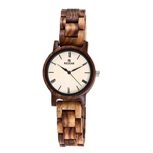 Damen Holz Uhren für Frauen Holz Armbanduhr mit Japanische Quarz Uhrwerk Anzeige Analog