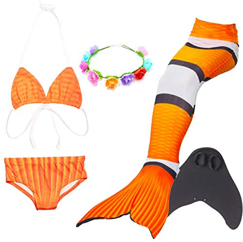 LCXYYY Mädchen Meerjungfrauenschwanz Bikini Set Zum Schwimmen mit Meerjungfrau Flosse Badeanzüge Prinzessin Cosplay Kostüm Schwimmanzug für Kinder Bademode Tankini Bikini Monoflosse Blumenkranz 5pcs (Prinzessin Kostüm Für Jugendliche)