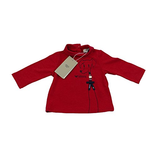 Armani Bambina Rosso Tshirt/Top Polo 100% Vera Luxury SZ 3M/56