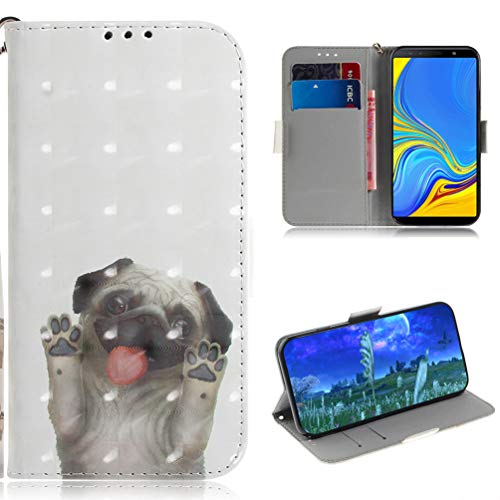 für Samsung Galaxy A7 2018 Handyhülle Hülle Case Malen Muster Leder Tasche Flipcase Cover Silikon Schutzhülle Handytasche Skin Ständer Klapphülle Schale Bumper Magnet Ledertasche Mops - Mop Indische