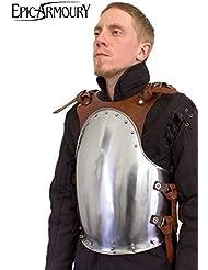 Medieval de pecho merc de acero Pecho harnisch de armadura Armadura tanque placa LARP Vikingo Medieval Varios Colores, marrón, talla única