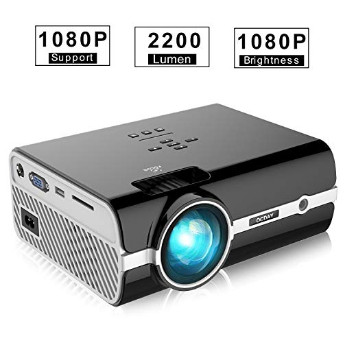 Projector  OCDAY LCD Video Projector 2500 Lumen Portable Mini Multimedia Supports 1080P 20000 Hours Connection with AV VGA USB SD HDMI TV with for Home Theater Cinema Entertainment Parties Games