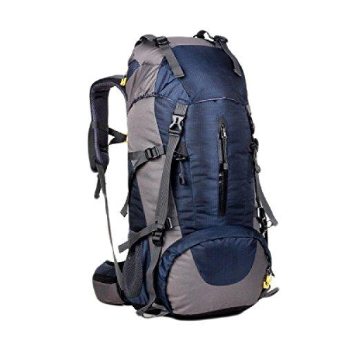 50L Im Freien Bergsteigen Taschen Zelttasche Männer Wandern Und Frauen Mit Großer Kapazität Rucksack Regen Abdeckung,Black OldBlue