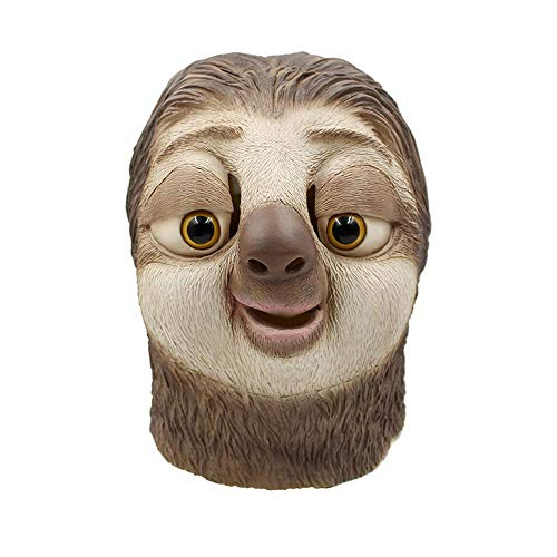 LXIANGP Latex Tier Faultier Maske Kopfbedeckung cos Halloween lustig Tricky Tier Latex Haube Tanzparty Spielzeug