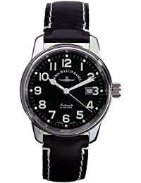 Zeno Watch Basel Pilot Classic 6554-a1 - Reloj de caballero automático con correa de piel negra