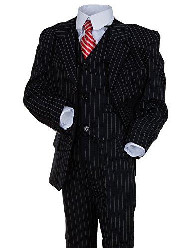Festlicher 5tlg. Jungen Anzug in vielen Farben #18nbl Nadelstreifen Blau Gr. 12 / 140 / 146 (Herren-nadelstreifen-hemd)