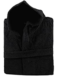 100% Cotton Terry Towelling Hooded Bath Robe + Matching Belt - Extra Large (Black)