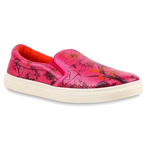Damen Sneakers Slip-ons Prints Freizeit Schuhe Pink