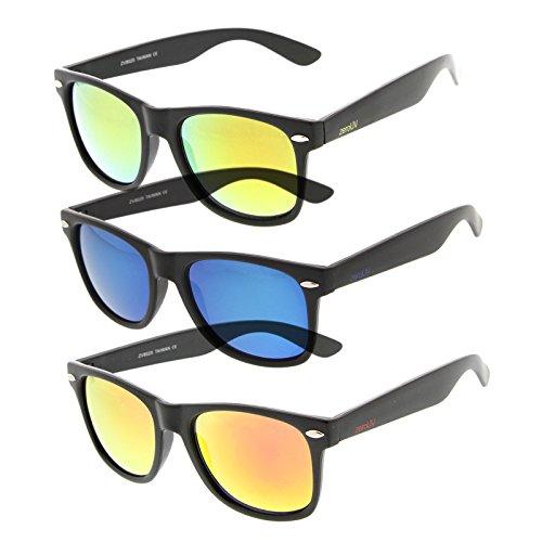 zerouv-flat-matte-reflective-revo-color-lens-large-horn-rimmed-style-sunglasses-uv400-deluxe-3-pack-