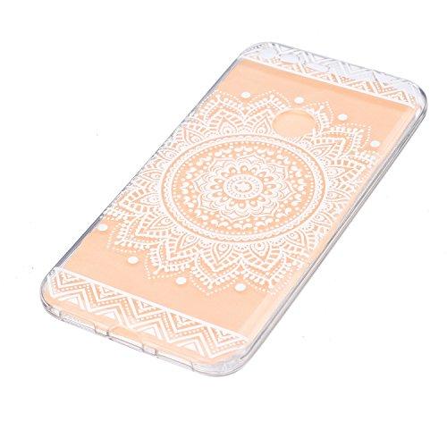 XiaoXiMi iPhone 6/iPhone 6S Hülle Transparente Klar TPU Handyhülle Soft Silicone Case Cover Weiche Flexible Schale Schlanke Glatte Tasche Ultra Dünne Leichte Etui Kratzfeste Stoßfeste Hülle mit Einfac Weiße Sonnenblume