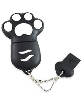 Animal Patte Forme Clé USB Drive 64 Go dans Coffret Cadeau avec E.T. INSIDE Marque Stylo Capacitif (Noir)