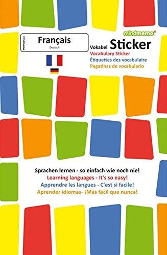 mindmemo Vokabel Sticker - Grundwortschatz Französisch / Deutsch - 280 Vokabel Aufkleber für Kinder und Erwachsene Französisch lernen leicht gemacht Lernhilfe Lernsticker Sprachsticker