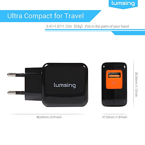 Lumsing® Cargador de pared USB multipuerto Quick Charge 2.0, Wall charger, Estación de carga USB con carga rápida, 1 Puerto QC2.0, Enchufe europeo para iPhone, iPad, iPod, Samsung Galaxy, HTC, Nokia, Nexus, Motorola, Blackberry, Nook, Otros dispositivos (Negro)