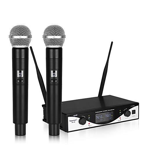 HM2 UHF-Funkmikrofonsystem (2-Kanal-2-Handheld-Karaoke-Mikrofon mit Nierencharakteristik) für Konferenzen/geschäftliche Veranstaltungen - Schwarz 12-kanal-handheld-empfänger