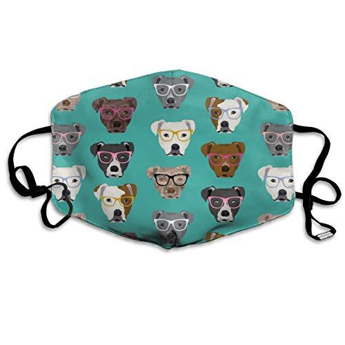 Kostüm Punk Cute - Pitbull In Glasses - Cute Dogs Pitty Dog Design - Türkis Anti Dust Mask Anti-Pollution Washable Wiederverwendbar Mouth Masks