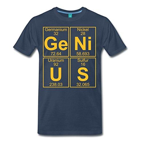 Spreadshirt Ge-Ni-U-S Genius Genie Chemie Periodensystem Männer Premium T-Shirt, S, Navy