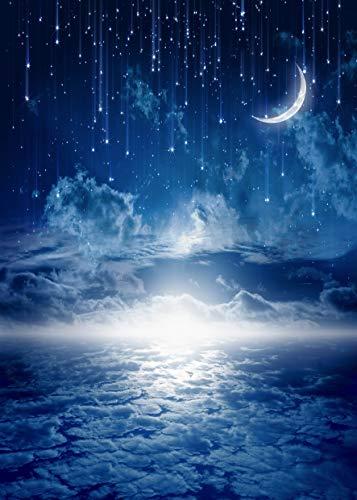 AIIKES 5x7FT/1,5Mx2,1M Mond Stern Fotografie Hintergrund Meteore Wolkig Himmel Nacht Landschaft Baby Geburtstags Fotografie Hintergründe Brauch Fotografische Hintergründe für Foto studio 11-421 -