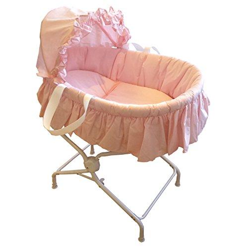 babywiege-mit-rosa-stoff-farben-und-ihre-metalltrger