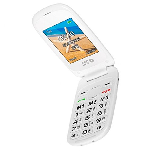 Spc Harmony 2304b - Telefono móvil para mayores teclas grandes con cámara de fotos y botón de aviso a emergencias, color blanco