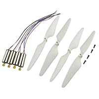 MagiDeal 4 Pieces Propeller and 4 Pieces Motor Set for Hubsan X4 H502S H502E Drone Quadcopter Parts Accessory DIY White