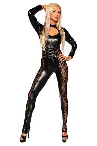 HHTY QREP Sexy Unterwäsche Leder DS Spiel Catsuit Bodysuit Overall Nachtclub Königin Leistungsklage