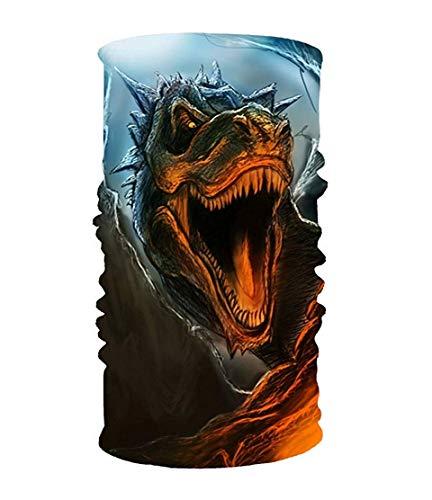 KAKICSA Scary Dinosaur 16-in-1 Magic Scarf,Face Mask,Thin Ski Mask,Balaclava Bandana