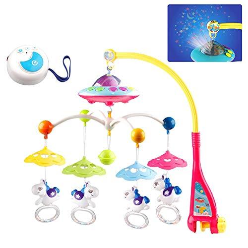 libelyef Babybett Mobile Musical Toy - Rotierende Overhead Stars Dreams Projektor Hängen Rasseln Und Fernbedienung Spieluhr Für Kinderwagen Kinderwagen Ornament Babyspielzeug