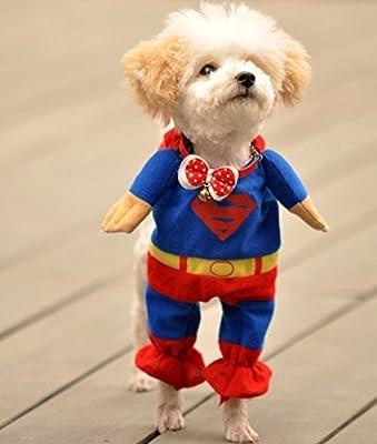 Sanlise New Pet Cat Dog Puppy Cotton Clothes Costumes Superman Suit size XS/S/M/L/XL (XS)