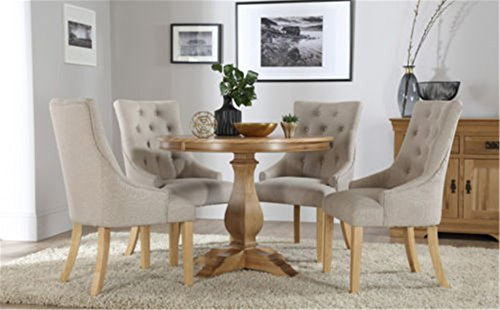 Ship From UK CRAVOG Cavendish Round Oak Dining Table And 4 Fabric Chairs Set