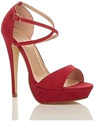Tilly Shoes Plataforma Tacón Peeptoe Cross Over Strappy Sandalias Zapatos Talla
