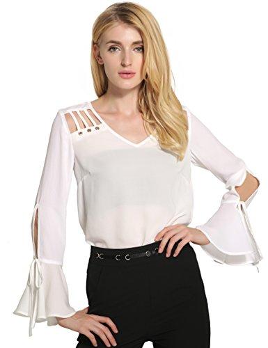 SunIfSnow Damen Bluse, Einfarbig Gr. XL, weiß (Eyelet Tunic Cotton)