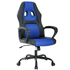 T-LoVendo TY-GRC61-Blue Silla Gaming Oficina Racing Escritorio Videojuegos Sillon Gamer Despacho, Azul Negro