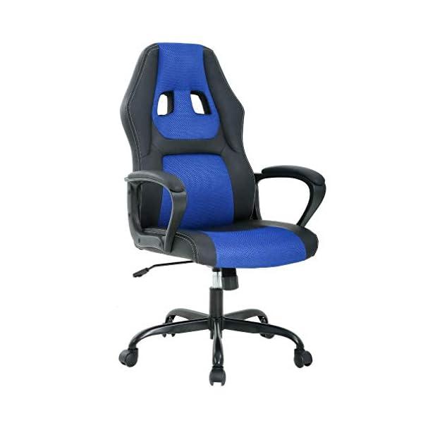 T-LoVendo TY-GRC61-Blue Silla Gaming Oficina Racing Escritorio Videojuegos Sillon Gamer Despacho, Azul Negro