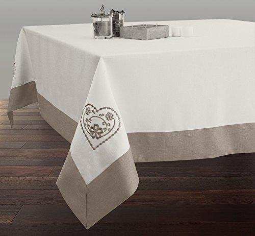 Nappe Brodée Rectangle 150x300 cm Anti-taches Ecru avec ourlet ficelle - taille : Rectangle 150x300 cm