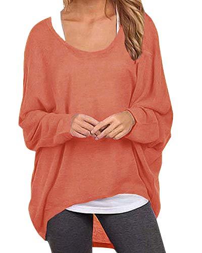 ZANZEA Damen Lose Asymmetrisch Jumper Sweatshirt Pullover Bluse Oberteile Oversize Tops Orange EU 38-40/Etikettgröße M -
