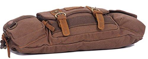 ERGEOB® Herren Brustbeutel Segeltuchtasche Männersporttasche kleine Hüfttasche multifunktionale Outdoor kleinen Schulranzen Armeegrün Kaffee