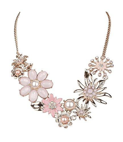 n Statement-Kette, Rosegold, mit Verschiedenen Blumen, Blüten, Edelweiß, Perlen, Strass, Rosa, Nude (730-510) (Trachten Schmuck Halskette)