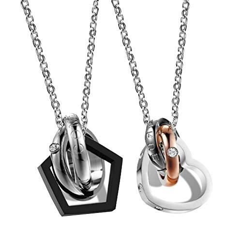 """Keybella 2 pcs acciaio inossidabile pendente ciondolo collana argento nero oro anello amore san valentino coppia lui & lei set uomo,donna """"dream come true"""
