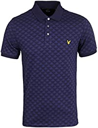 Lyle & Scott Jacquard Navy Short Sleeve Polo Shirt