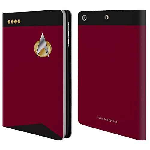 Offizielle Star Trek Captain Uniformen Und Plaketten TNG Brieftasche Handyhülle aus Leder für Apple iPad mini 1 / 2 / 3 (Leder-plakette)