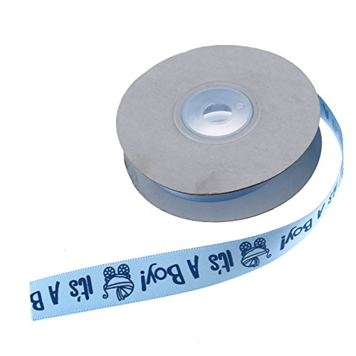 Schleifenband 1.5cm Baby It's a Boy Dekoband Tauf-Satin-Band DIY Blau Satin Boys Band